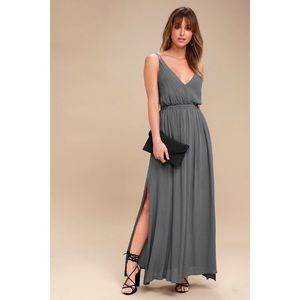 LULUS lost in paradise slate grey maxi dress